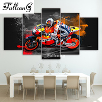 FULLCANG Diy Full Diamond Painting 5 Pcs Diamond Embroidery Motorcycle Square Mosaic Embroidery With Diamonds Home