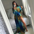 UK Womens Celeb Sexy Boho Long Maxi Party Leopard Print Dress  Ladies Summer Beach Sun Dress Green