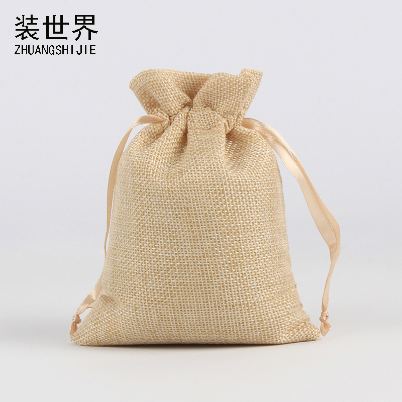 10Pcs/Lot 5 Colors  10x15cm Linen Drawstring Pouch Bag Logo Printed Jute Pouch