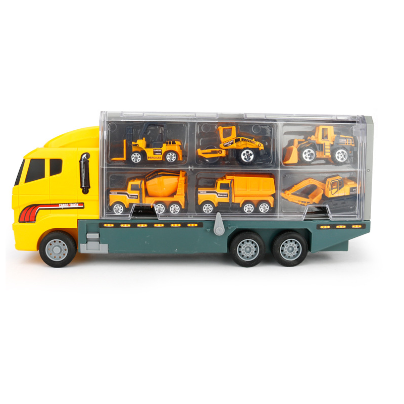 Kids Alloy Die-cast Car Model Music Cargo Truck Model Vehicle Toy Vehicle 1:50 Gift with 11 Cars