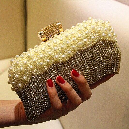 Bridal Bags Women Clutch Bags Evening Clutch Bags Wedding Bridal Handbag Pearl Beaded Tassel Fashion Rhinestone Bags