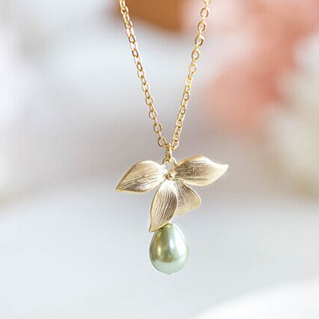Chic simulated pearl orchid flower necklace gold color chain water chic simulated pearl orchid flower necklace gold color chain water drop pendant necklace womens luxury brand aloadofball Choice Image