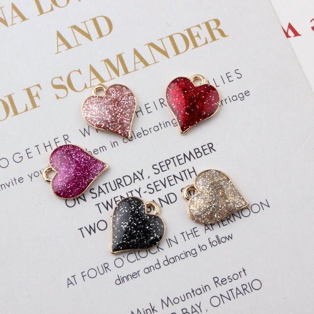11 11 New Arrival Oil drop Shiny Heart Charm Enamel Pendant For Earring Jewelry DIY Handmade Jewelry Making 10pcs/lot