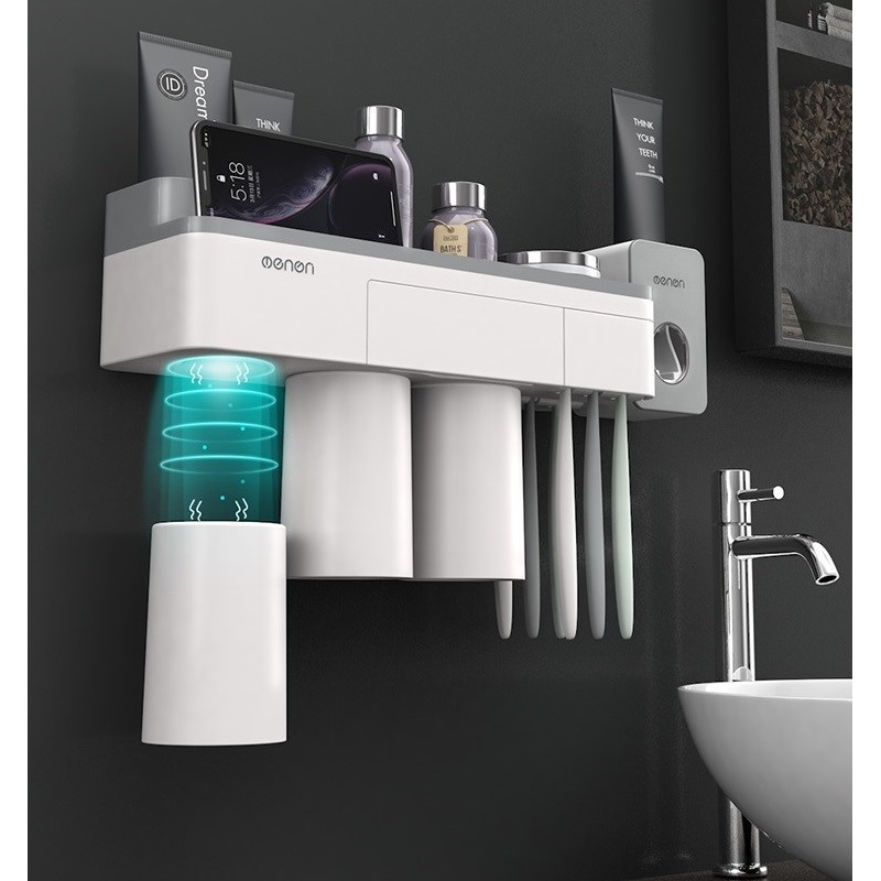 Magnetic Toothbrush Holder with Toothpaste Squeezer with Cups for 2/3Persons in Bathroom Storage Rack Nail Free Mount image