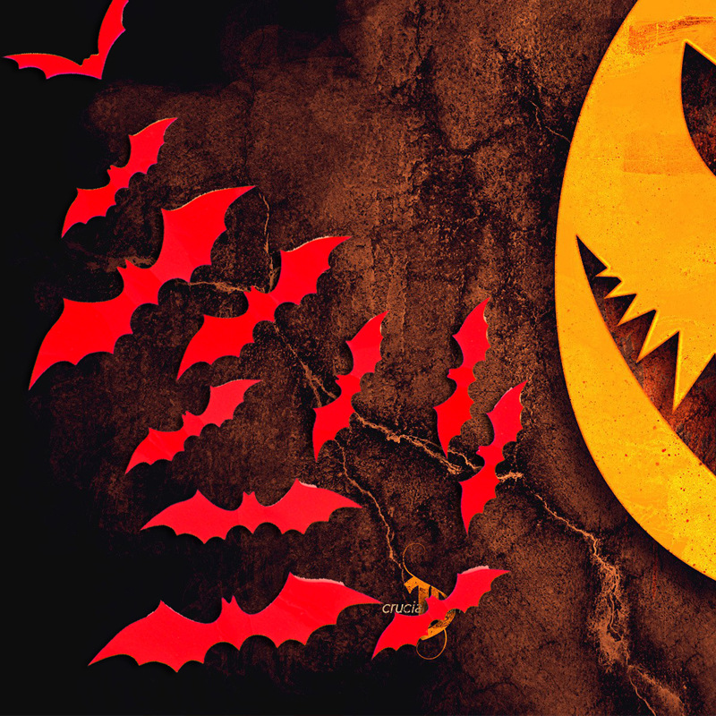 50Pcs Halloween Bat Wall Decals Stickers 3D Black Bats Wall Stickers Bat Hallowe