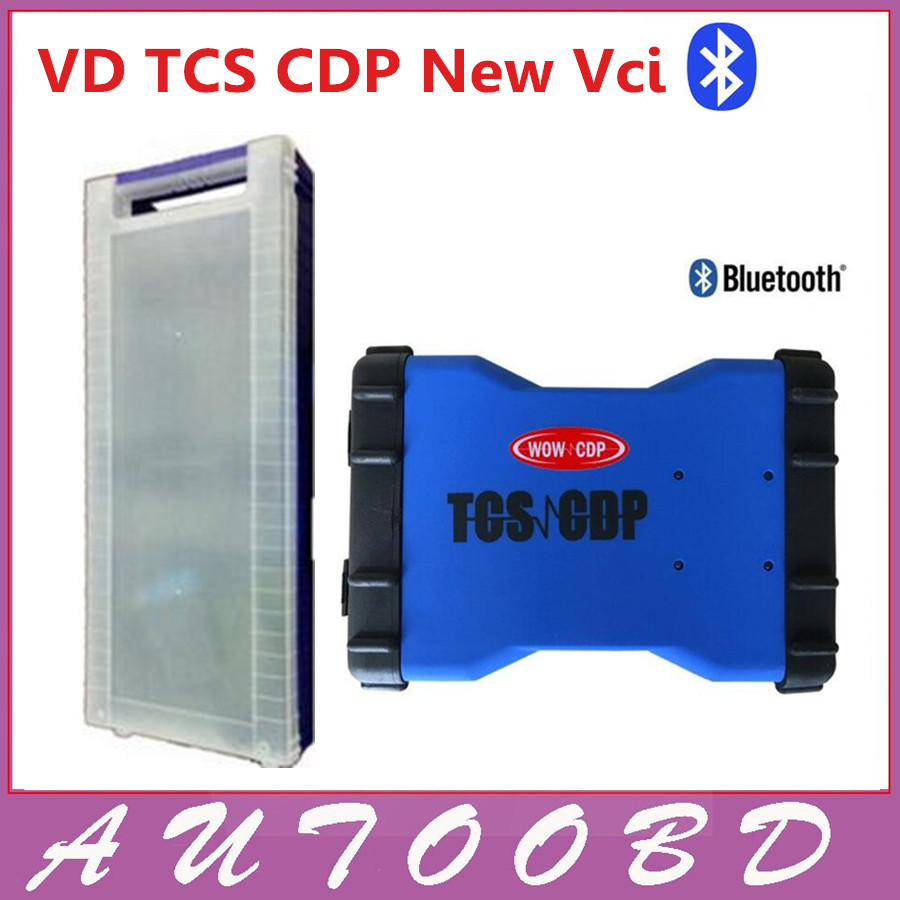 Newest Version 2014.R2 VD TCS CDP Pro With Bluetooth for OBD II Cars/Trucks/Generic 3 In 1 Blue New VCI CDP with Plastic box
