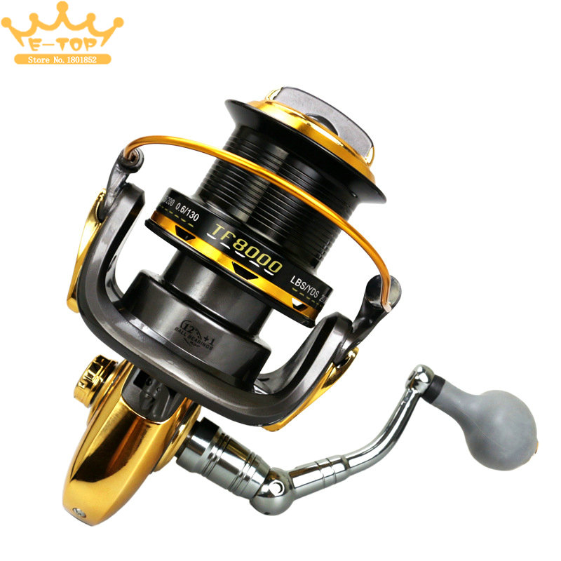 8000 Series 12+1BB 4.6:1 Full Metal CNC Rocker Arm Fishing Reel Trolling Long Shot Casting Big Sea Spinning Wheel image