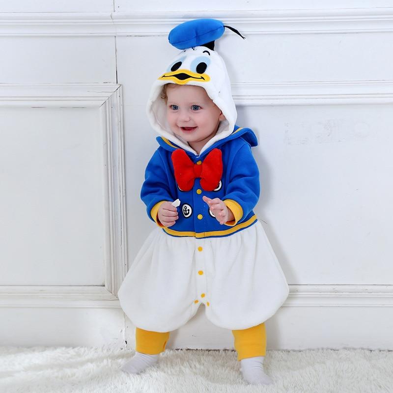 New Winter Children Onesie Cute Donald Duck Boys Animal Kids Clothes Cosplay Pajamas Halloween Purim Christmas Costumes Romper