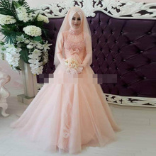 Muslim/Kaftan Wedding Dress with Hijab vestido de noiva DuBai/Kaftan Pink Wedding Dresses Long Sleeve robe de mariage Cheap