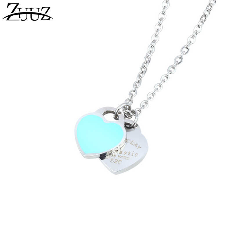 ZUUZ necklaces & pendants stainless steel chain chocker best friends heart pendant neckless chocker neckless gifts for women