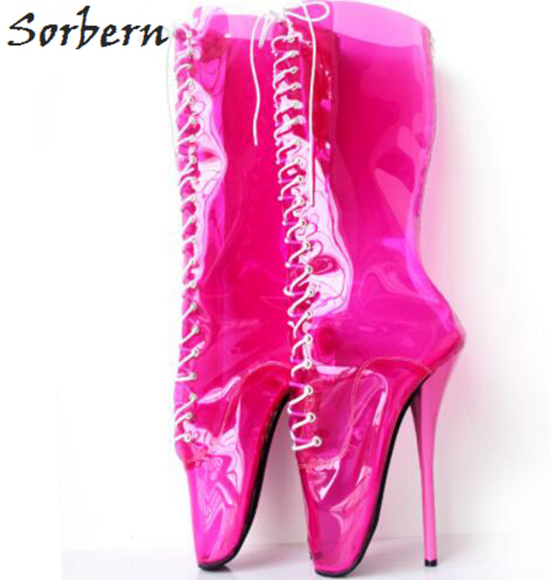 1f5395ff86b6f Sorbern Peach See Through PVC Ballet Heel Women Boots Lace Up Sexy Fetish High  Heels Boots