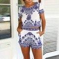 Novo Da Senhora Floral Tops + Shorts Jumpsuit Playsuit Clubwear Verão S/M/L/XL