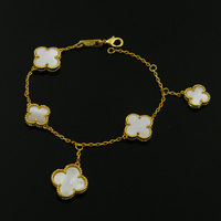 Exquisite White Clover Shell Black Onyx Bead Bracelet Natural Stone Gold Color Five Size Flowers Love