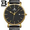 Suiza BINGER de las mujeres relojes de marca de lujo de cuarzo correa de cuero ultrafino Calendario Completo Relojes de Pulsera Impermeable B3053W-5
