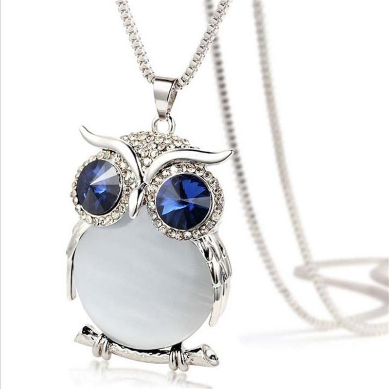 8 Colores Trendy Owl Necklace Moda Rhinestone Cristalino Joyería - Bisutería - foto 5