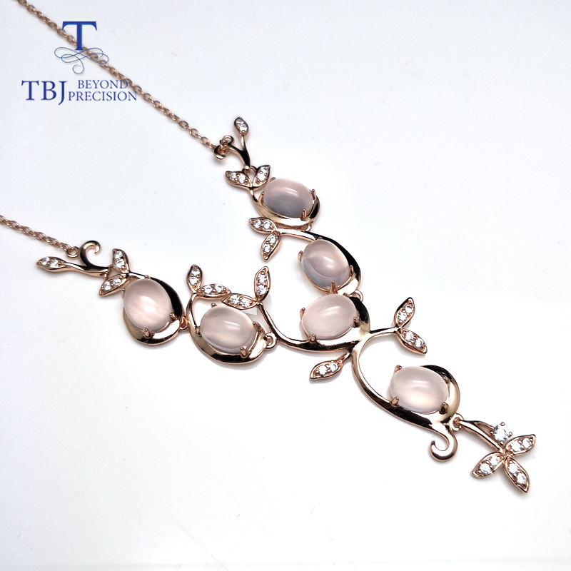 TBJ Graceful tree deisgn necklace with natural rose quartz in 925 silver gemstone jewelry for women