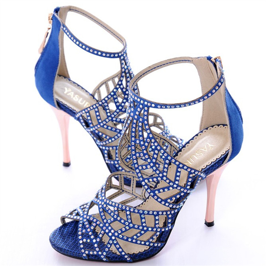 Crystal Shoes Woman High Heels Wedding Zapatos Mujer Rhinstone Gladiator Sandals Women Sapato Feminino Buckle Leaves Pumps Zip