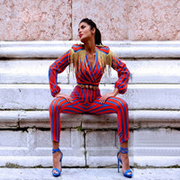 New Runway Fringe Jumpsuits for Women Body For Women Celebrity Party Jumpsuit with Long Sleeve Red, Blue striped Tassel Jumpsui