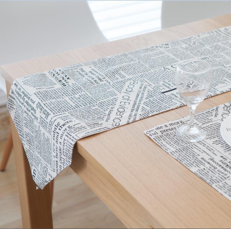 Cotton Table Runner Camino De Mesa Table Runner Newspaper Printing Runner For Table Chemin De Table Tafelloper Placema Home Text