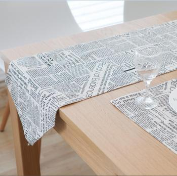 Cotton Table Runner Camino De Mesa Table Runner Newspaper Printing Runner For Table Chemin De Table Tafelloper Placema Home Text image