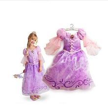 2016 New Children Kids Cosplay Dresses Rapunzel Costume Princess Wear Perform Clothes
