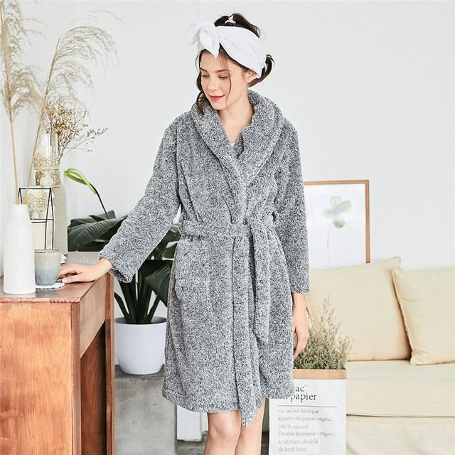 03c25e84fa Women s Sleepwear Thicken Solid Color Turn Down Collar Long Sleeve Pocketed  Cozy Home Robe Pajamas