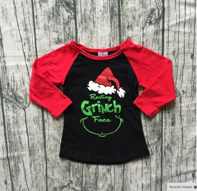 9f2aa9d495a Girl Christmas Unicorn Shirt Kids Girl Ruffle Raglan Sleeve tshirt Baby  autumn winter tops for 1-6T