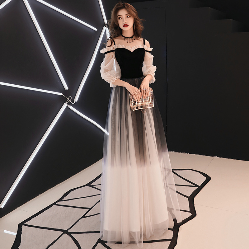 Boat Neck   Evening     Dresses   Gradient Black Color Fashion Backless Formal Prom   Dress   Floor Length Tulle Lace Long Party Gown E338