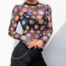 Spring New Womens Slim High Collar Long-Sleeved Mesh Perspective Cartoon Printing camiseta transparente mujer Top 2019  60j094