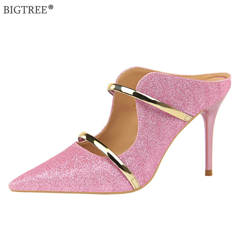 2019 new star style Summer Women Sandals Slingback high heels Glitter Sequin shoes Sexy Female Dance club pump metal ankle strap