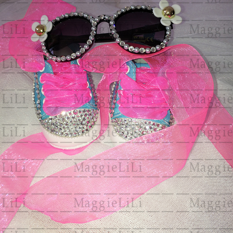 baby girls kids Sets sunglasses and Shoes bling Rhinestone Cute Toddler Christening Baptism Shoes Canvas First Walker birthday