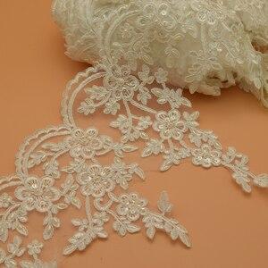2 metros Creme branco Frisada lace casamento nupcial guarnição guarnições 24 cm de largura casamento do ofício de costura