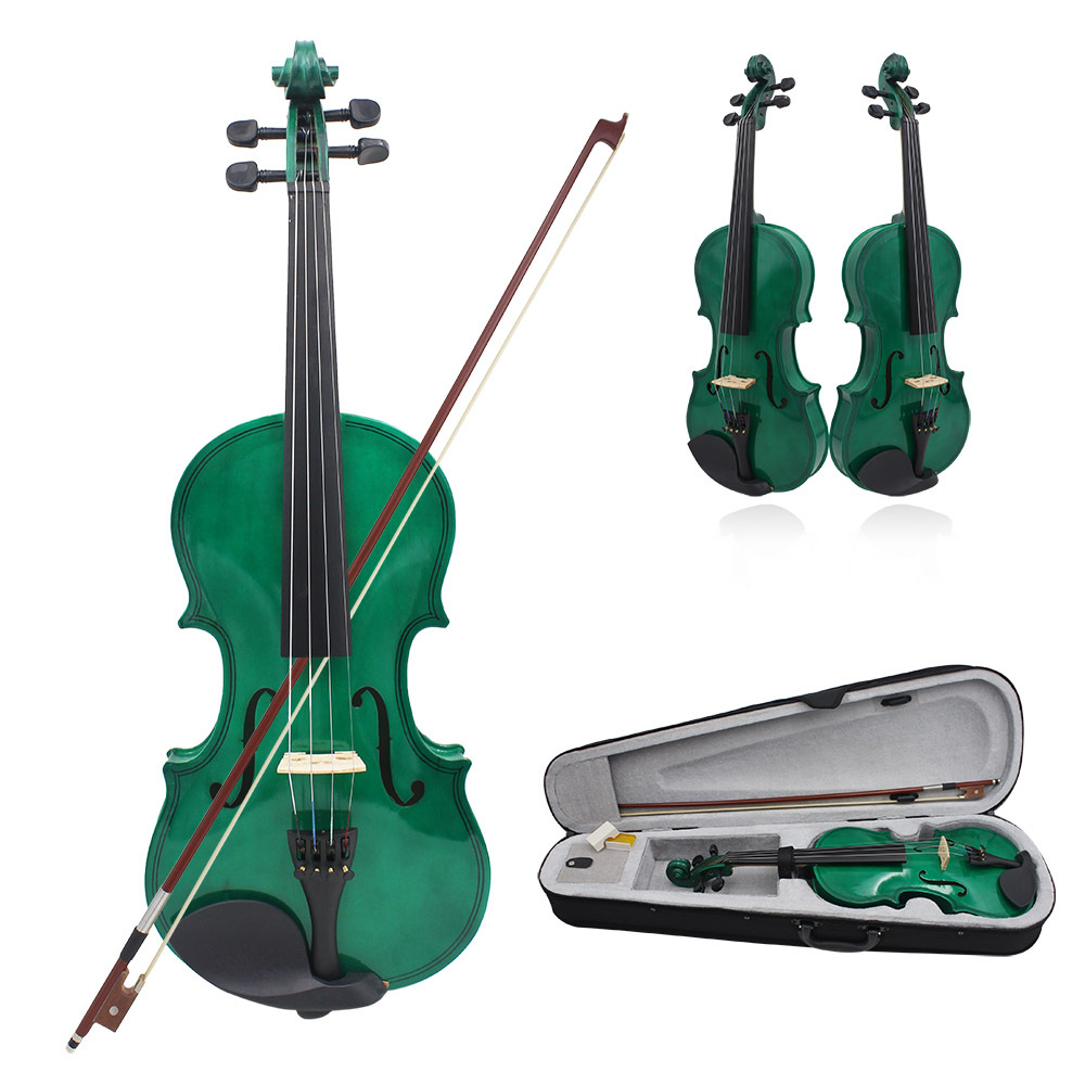 Solid wood violin 4/4 adult beginner Handmade green violino Professional Instruments violin case bow rosin Parts Accessories