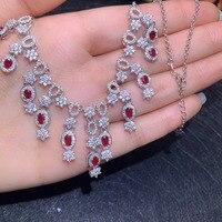 С натуральным красным Рубином Цепочки и ожерелья Природный камень кулон Цепочки и ожерелья S925 серебряные Роскошные женские туфли с большим