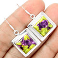 Hand make  Genuine Stichtite Earrings, 100% 925 Sterling Silver,  38mm, 7.5G, AE0250