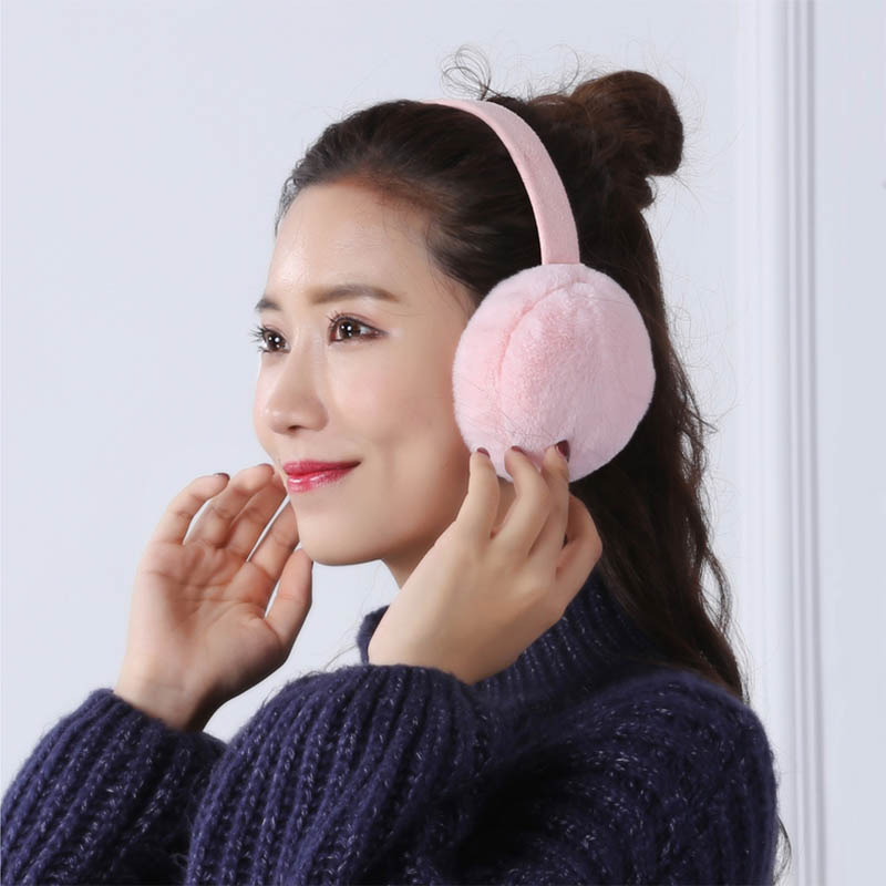Earmuffs Plush Warm Foldable Christmas Gifts Solid Color Ear Warmers For Winter -OPK