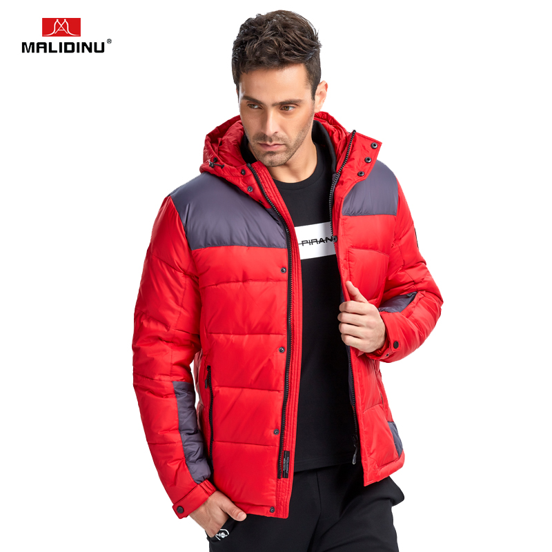 MALIDINU 2018 Men Fashion   Down   Jacket Winter   Down     Coat   Parka 70%White Duck   Down   European Size Hooded Jacket Brand Free Shipping
