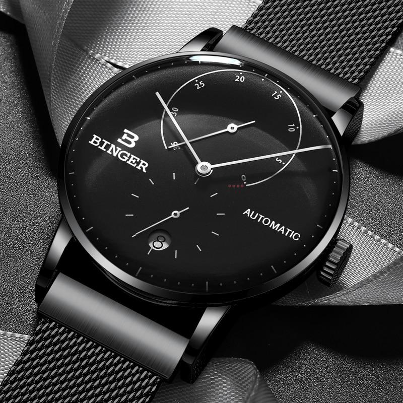 Switzerland BINGER Watch Men Luxury Brand Automatic Mechanical Mens Watches Sapphire Male Japan Movement reloj hombre B-1187-2 цена