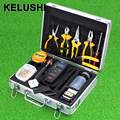 KELUSHI 29 IN 1 FTTH Optical Fiber Termination Tool Kit with 10mW Visual Fault Locator and FC-6S Fiber Cleaver   Wire Stripper