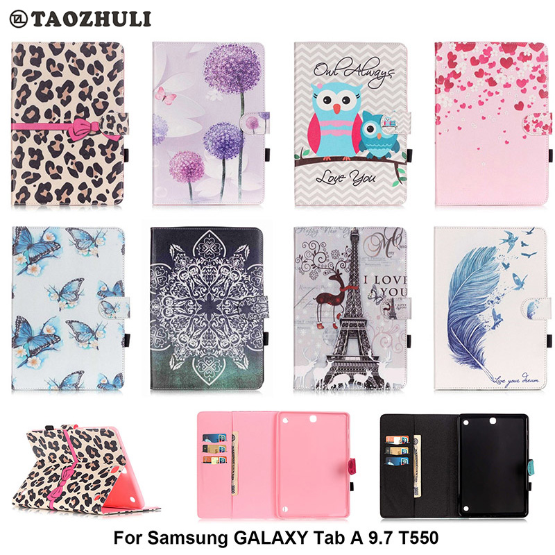 For Samsung Galaxy Tab A 9.7 T550 T551 T555 Cover Stand Cartoon Leather Case For Samsung Galaxy Tab A SM-T550 Tablet Smart Case pu leather case stand cover for samsung galaxy tab a 9 7 sm t550 t555 p550 9 7 360 rotating tablet smart flip cover sm t550
