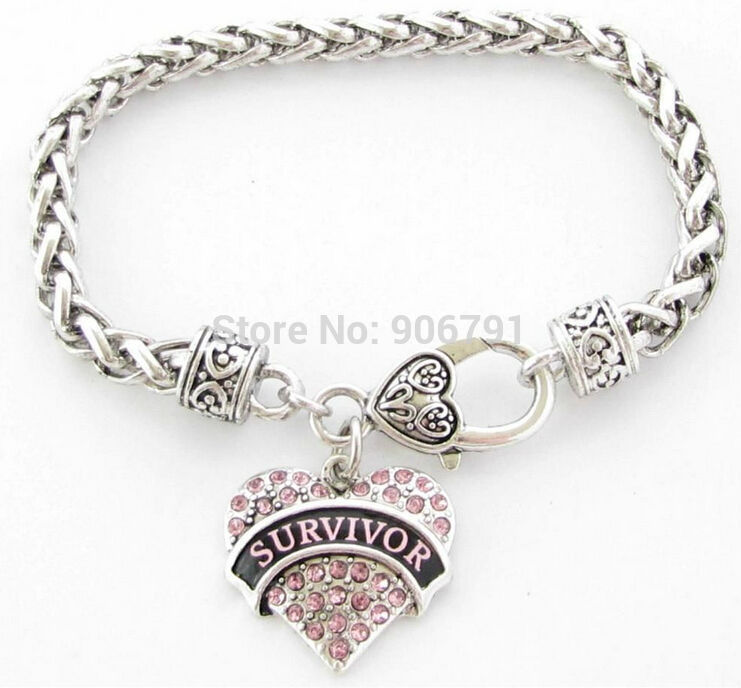 Survivor T Cancer Pink Ribbon Crystal Heart Silver Bracelet Jewelry With Lobster Claw Fashion In Chain Link Bracelets From Accessories On