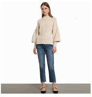 Women Elegant Lantern Sleeve Backless Sweater Sexy Brief Sweater Solid O Neck Slim Pullovers