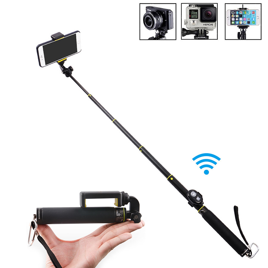 Mini Extendable Handheld Monopod with Tripod Bluetooth Selfie Stick for Gopro3 <font><b>3</b></font>+ 4 sj3000/<font><b>4000</b></font> xiaoyi Phones Iphone 5 6 <font><b>7</b></font> image