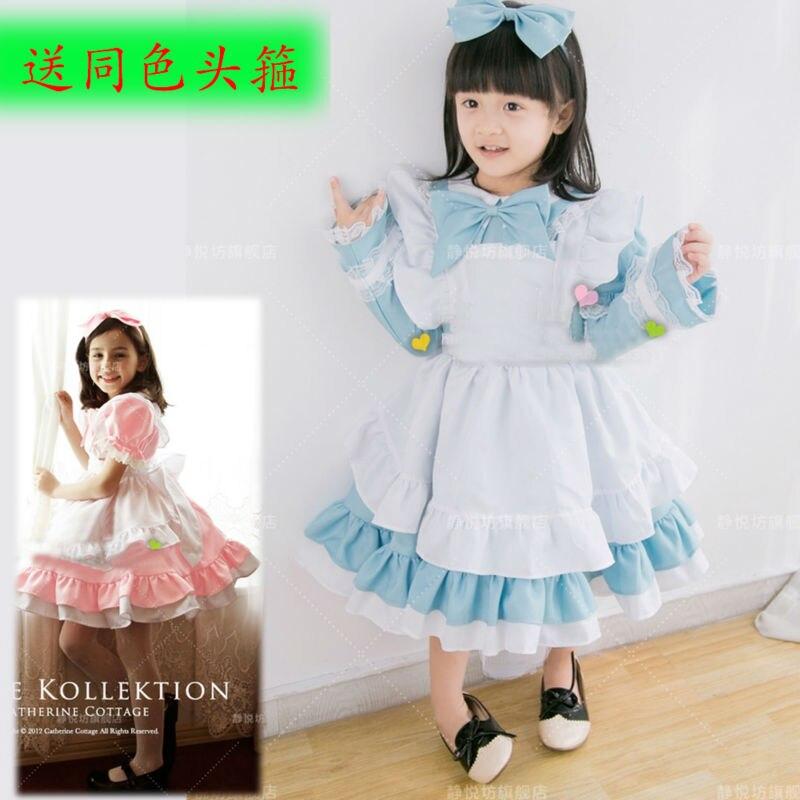 2pcs/set Girl Alice Cosplay Costume Kids Maid Sailor Lolita Dress Blue Pink Girl Cosplay Costume  Free Headwear sweet lolita cosplay girl dress jsk maid girl cloth 0228