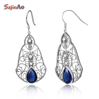 New High Quality Long Earrings With Stones 925 Sterling Silver Big Earrings Rhinestone Korean Fashion Vintage