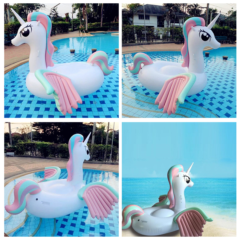 Giant Inflatable Buoy Unicorn 275 * 140 * 120cm SWISSANT Inflatable Seat Boat with Sunshade Child Toy Kids Water Swimming Pool commercial sea inflatable blue water slide with pool and arch for kids