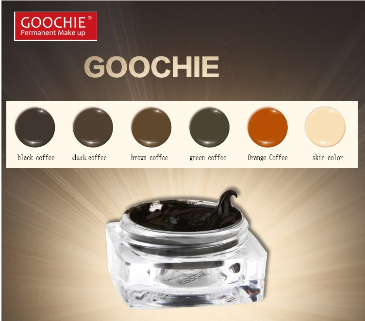 Goochie Permanent Makeup paste eyebrow pigment brown, deep coffee,black coffee, green coffee, Orange Coffee &skin color