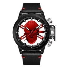 Muniti 남자 펑크 시계 원래 디자인 3d 할로우 해골 석영 reloj hombre 멋진 해적 해골 다이얼 가죽 남성 스트리트 시계