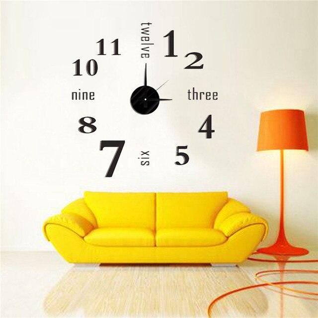 Charminer 3D Home Decor Quartz DIY Wall Clock Clocks Horloge Watch ...