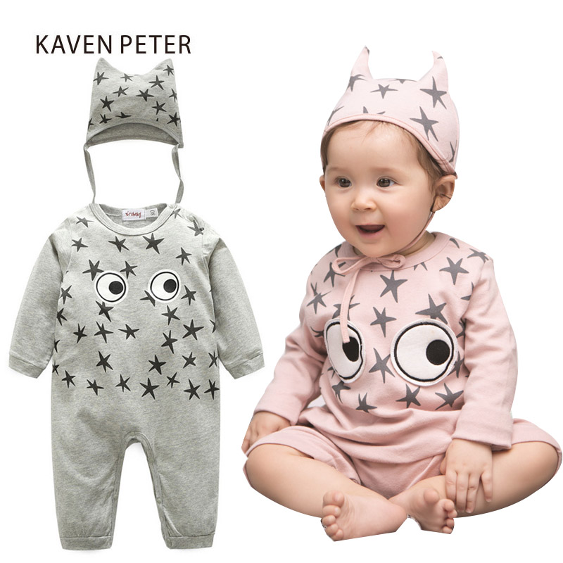 2017 Autumn Infant clothing baby girl romper newborn baby boy clothes Grey pink long sleeve cotton one piece suit with hat baby rompers long sleeve baby boy clothing children jumpsuits autumn cotton infant clothing newborn baby girl clothes